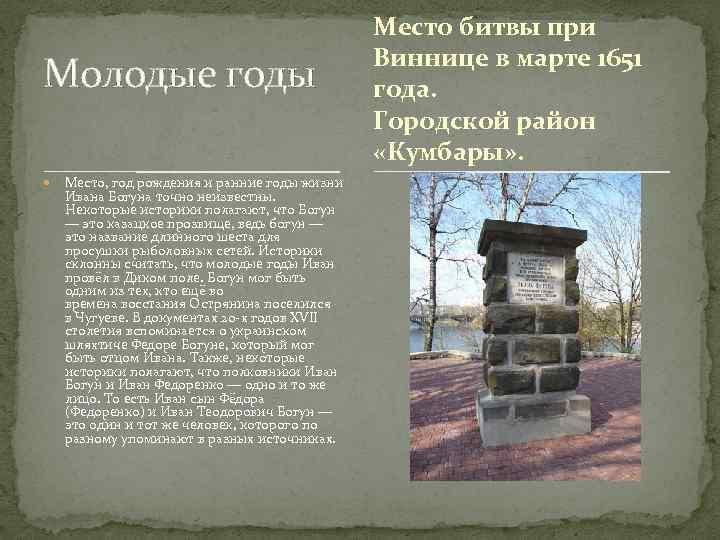 Молодые годы Место, год рождения и ранние годы жизни Ивана Богуна точно неизвестны. Некоторые