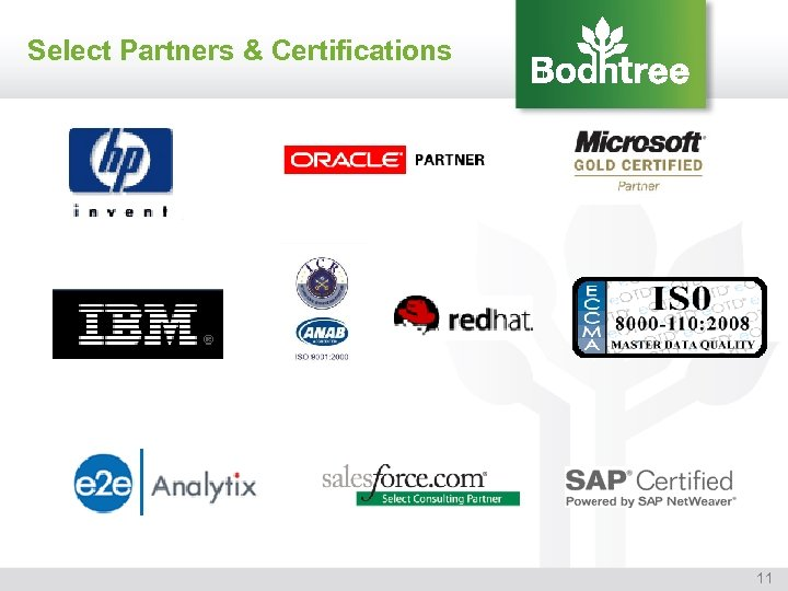 Select Partners & Certifications 11