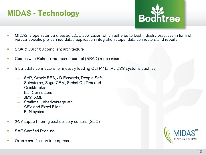 MIDAS - Technology § MIDAS is open standard based J 2 EE application which