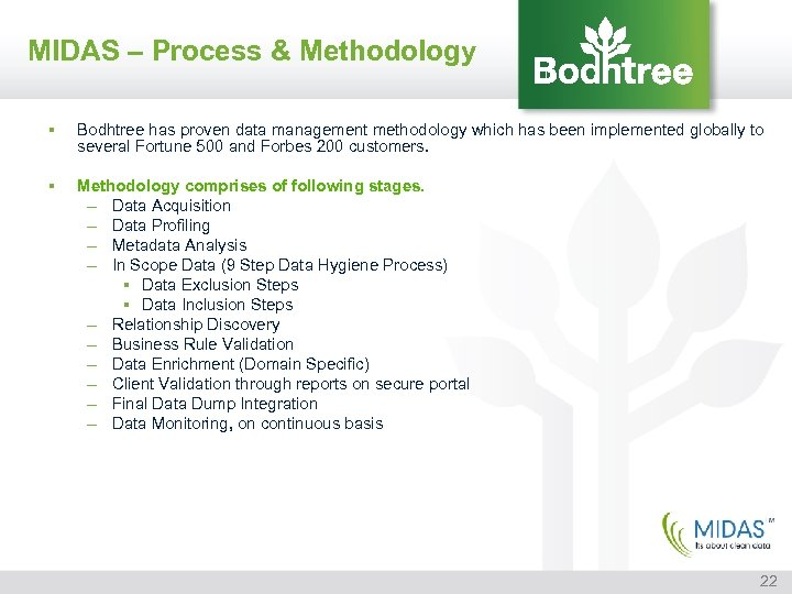 MIDAS – Process & Methodology § Bodhtree has proven data management methodology which has