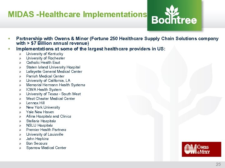 MIDAS -Healthcare Implementations § § Partnership with Owens & Minor (Fortune 250 Healthcare Supply