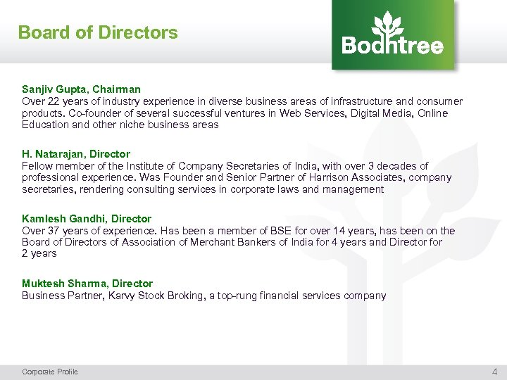 Board of Directors Sanjiv Gupta, Chairman Over 22 years of industry experience in diverse