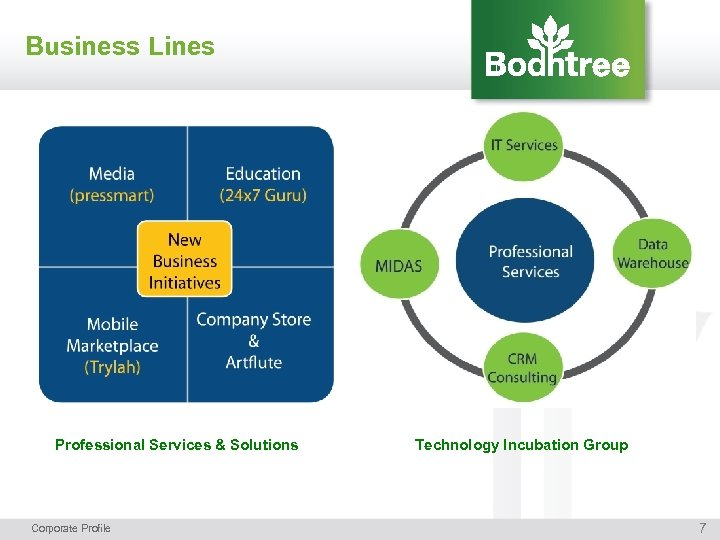 Business Lines Professional Services & Solutions Corporate Profile Technology Incubation Group 7