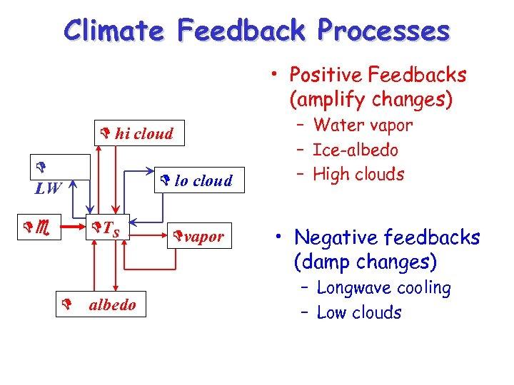 Climate Feedback Processes • Positive Feedbacks (amplify changes) D hi cloud D LW D