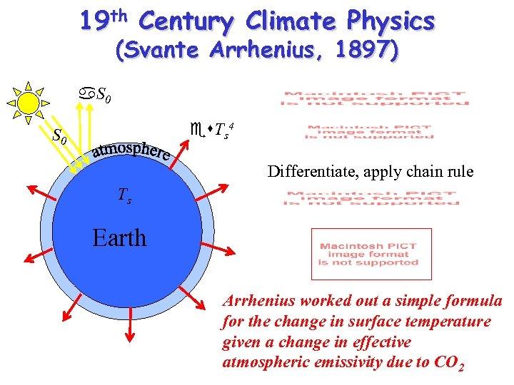 19 th Century Climate Physics (Svante Arrhenius, 1897) a. S 0 es. Ts 4