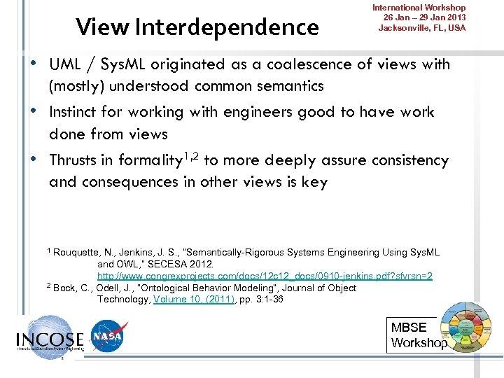 View Interdependence International Workshop 26 Jan – 29 Jan 2013 Jacksonville, FL, USA •