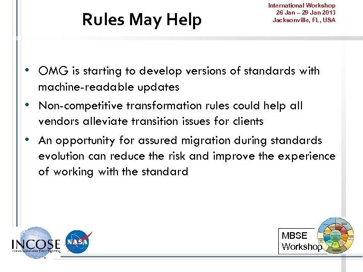Rules May Help International Workshop 26 Jan – 29 Jan 2013 Jacksonville, FL, USA