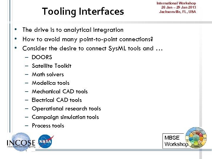 Tooling Interfaces International Workshop 26 Jan – 29 Jan 2013 Jacksonville, FL, USA •