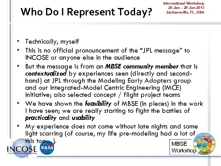 Who Do I Represent Today? International Workshop 26 Jan – 29 Jan 2013 Jacksonville,