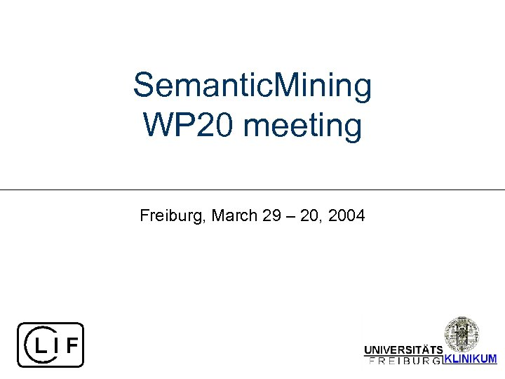 Semantic. Mining WP 20 meeting Freiburg, March 29 – 20, 2004