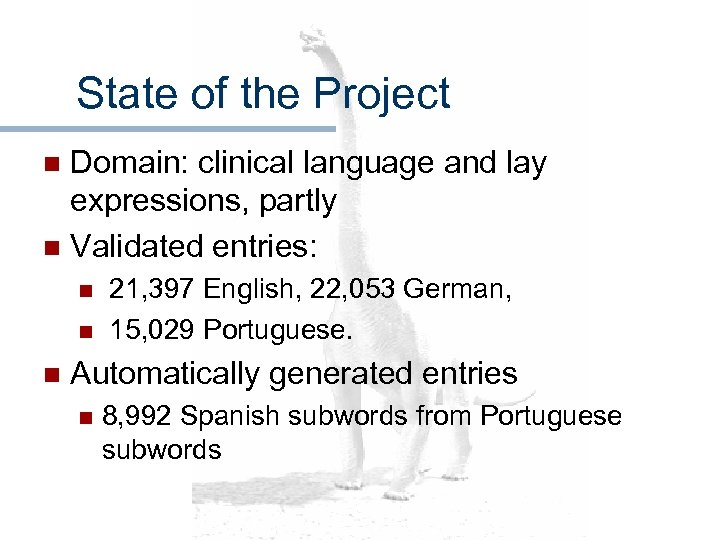 State of the Project Domain: clinical language and lay expressions, partly n Validated entries: