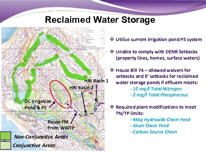 Reclaimed Water Storage v Utilize current irrigation pond PS system v Unable to comply