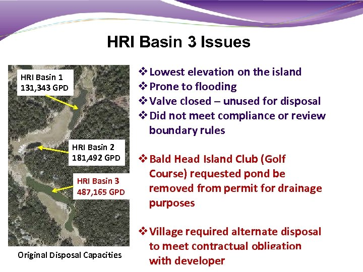 HRI Basin 3 Issues v. Lowest elevation on the island v. Prone to flooding