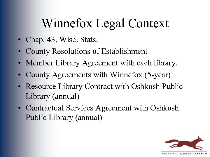 Winnefox Legal Context • • • Chap. 43, Wisc. Stats. County Resolutions of Establishment
