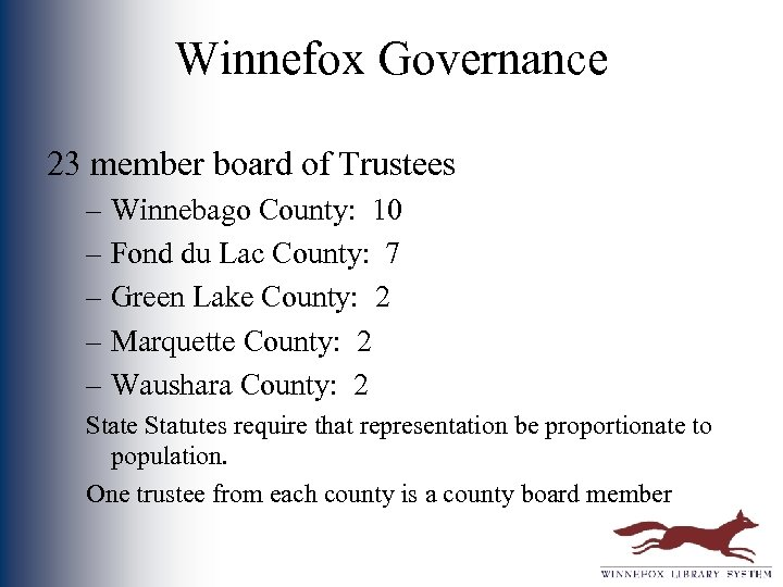 Winnefox Governance 23 member board of Trustees – Winnebago County: 10 – Fond du