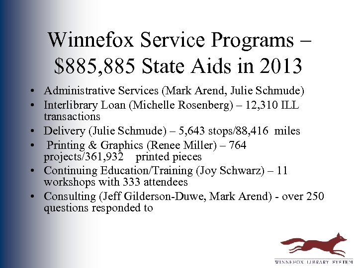 Winnefox Service Programs – $885, 885 State Aids in 2013 • Administrative Services (Mark