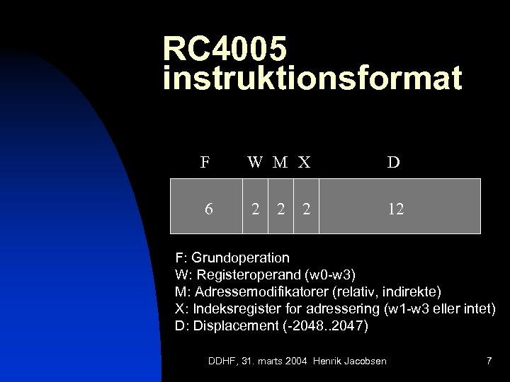 RC 4005 instruktionsformat F W M X D 6 2 12 2 2 F: