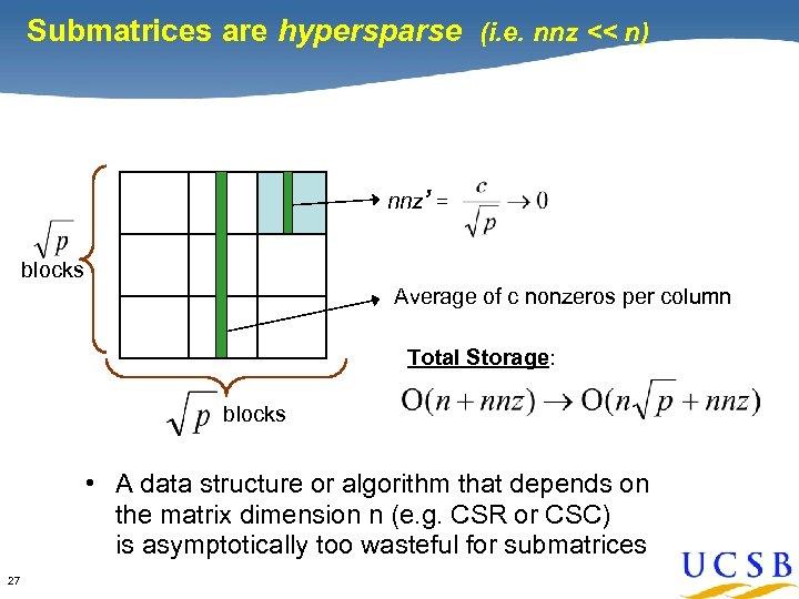 Submatrices are hypersparse (i. e. nnz << n) nnz' = blocks Average of c
