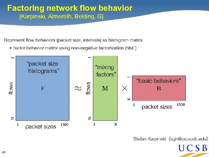 Factoring network flow behavior [Karpinski, Almeroth, Belding, G] 40