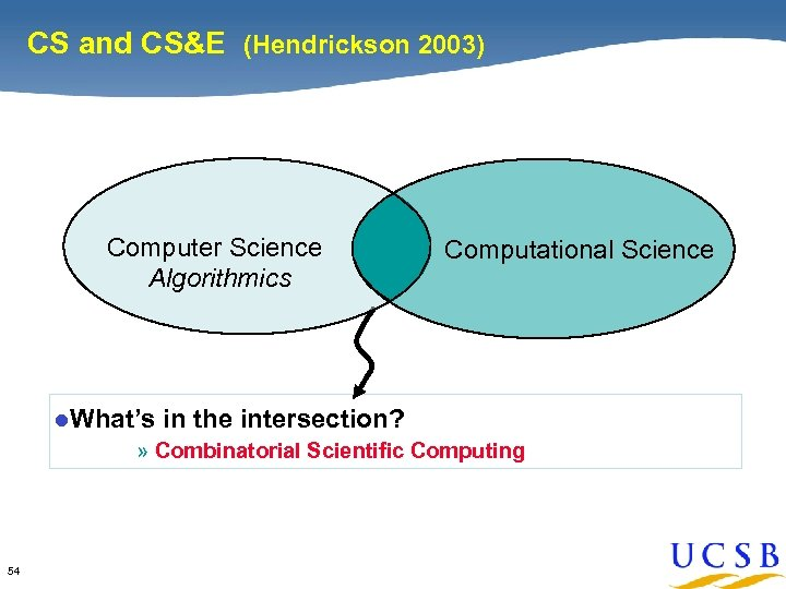 CS and CS&E (Hendrickson 2003) Computer Science Algorithmics l. What's Computational Science in the