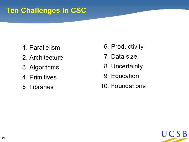 Ten Challenges In CSC 1. Parallelism 2. Architecture 7. Data size 3. Algorithms 8.