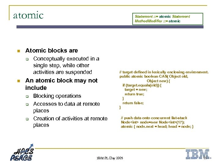 atomic n Atomic blocks are q n Statement : : = atomic Statement Method.