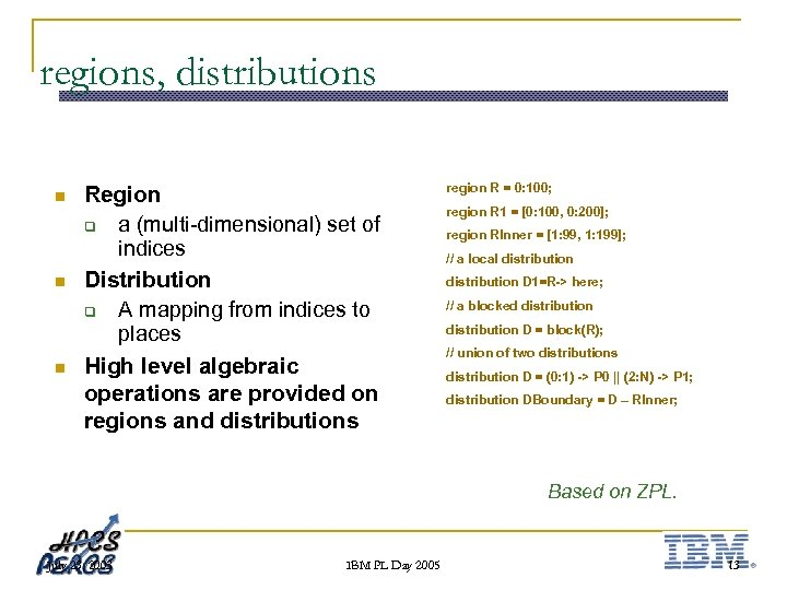 regions, distributions n n n Region q a (multi-dimensional) set of indices Distribution q