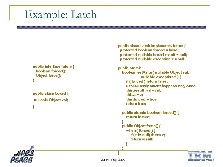 Example: Latch public class Latch implements future { protected boolean forced = false; protected