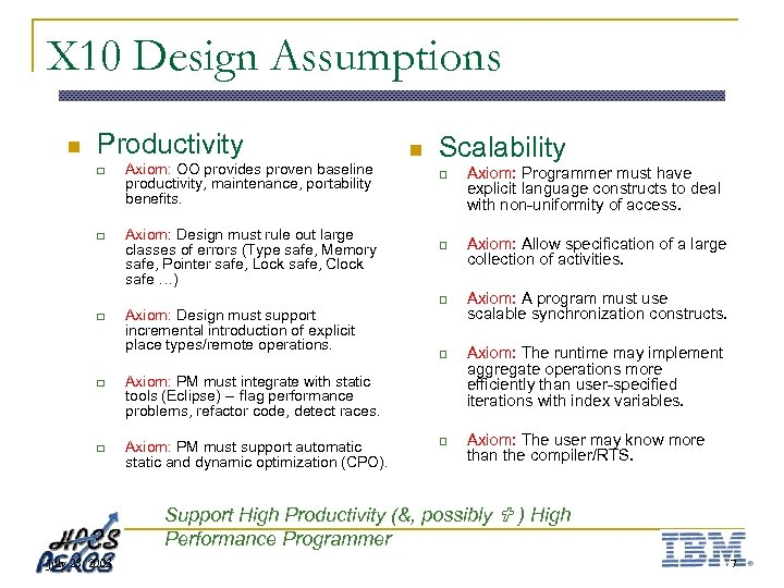 X 10 Design Assumptions n Productivity q q Axiom: OO provides proven baseline productivity,