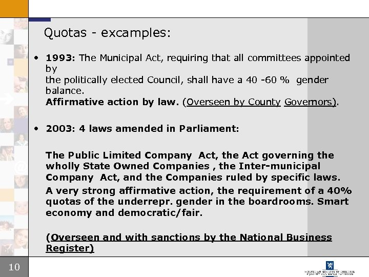 Quotas - excamples: • 1993: The Municipal Act, requiring that all committees appointed by