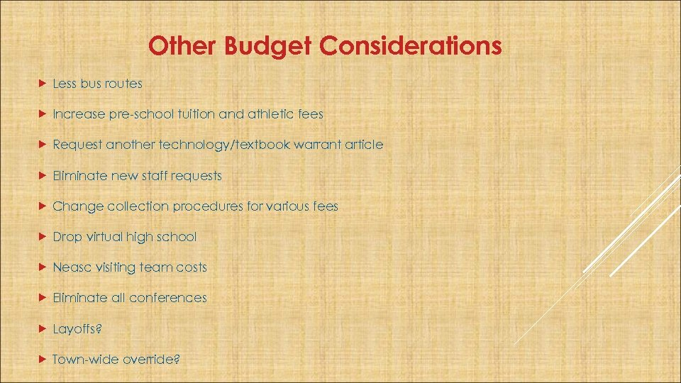Other Budget Considerations Less bus routes Increase pre-school tuition and athletic fees Request another