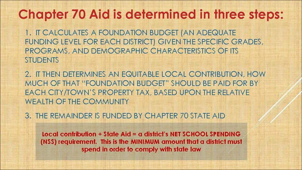 Chapter 70 Aid is determined in three steps: 1. IT CALCULATES A FOUNDATION BUDGET