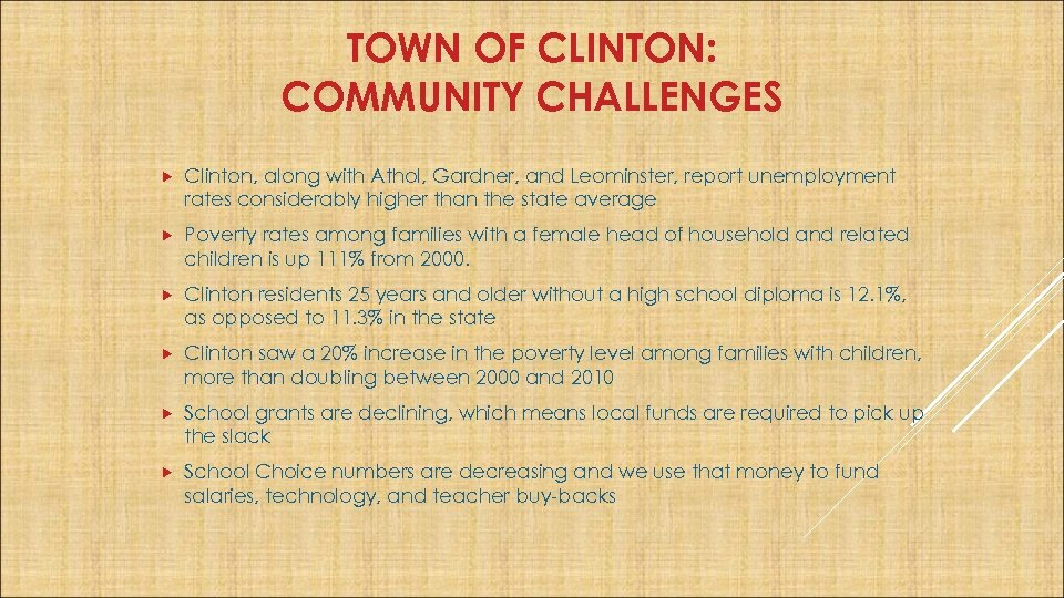 TOWN OF CLINTON: COMMUNITY CHALLENGES Clinton, along with Athol, Gardner, and Leominster, report unemployment