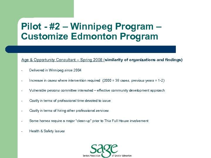 Pilot - #2 – Winnipeg Program – Customize Edmonton Program Age & Opportunity Consultant