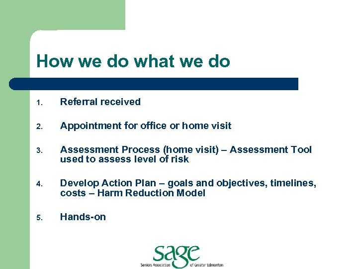 How we do what we do 1. Referral received 2. Appointment for office or