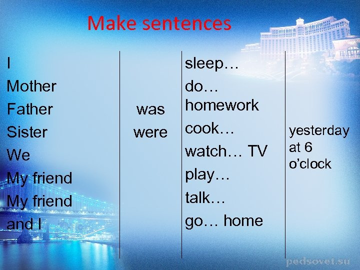 Make sentences I Mother Father Sister We My friend and I was were sleep…