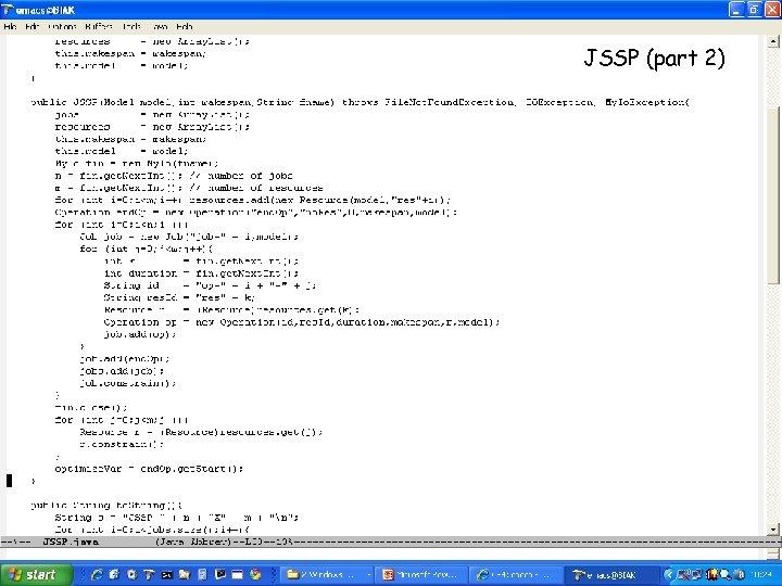 JSSP (part 2)