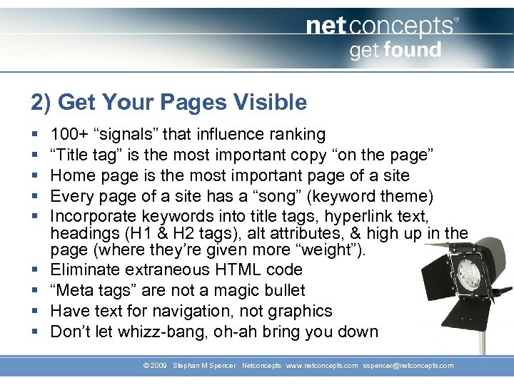 "2) Get Your Pages Visible § § § § § 100+ ""signals"" that influence"