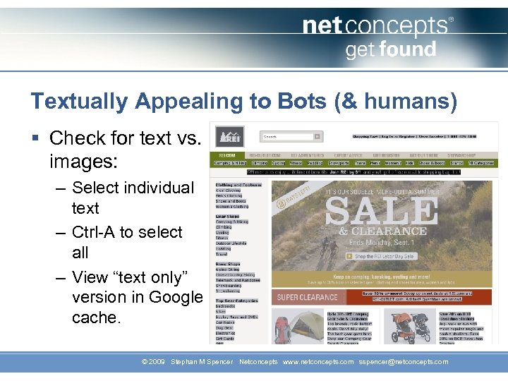 Textually Appealing to Bots (& humans) § Check for text vs. images: – Select