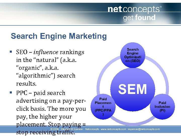 "Search Engine Marketing § SEO – influence rankings in the ""natural"" (a. k. a."