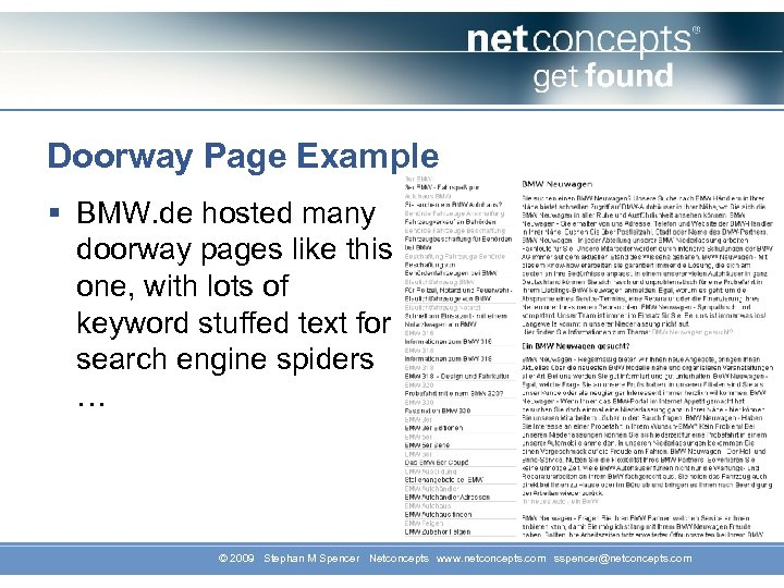 Doorway Page Example § BMW. de hosted many doorway pages like this one, with