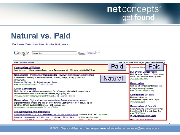 Natural vs. Paid Natural 7 © 2009 Stephan M Spencer Netconcepts www. netconcepts. com
