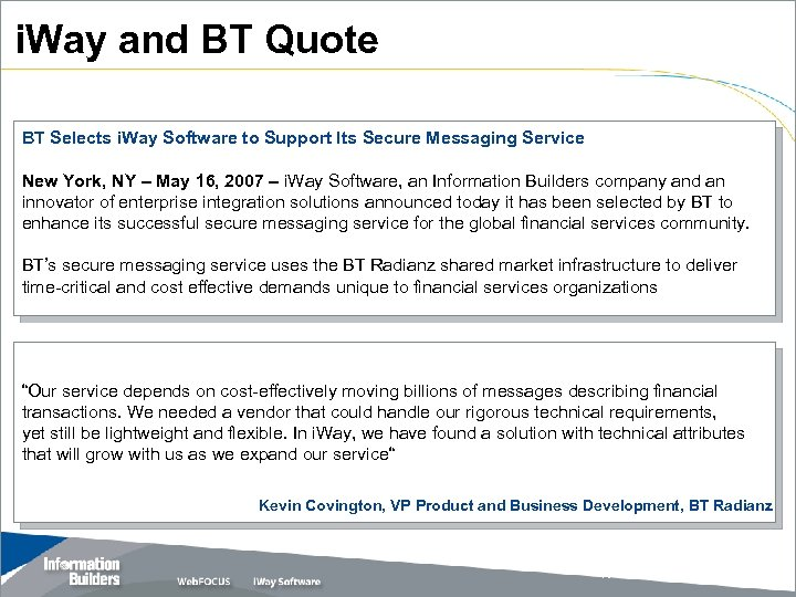 i. Way and BT Quote BT Selects i. Way Software to Support Its Secure