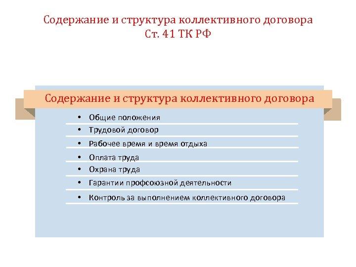Содержание и структура коллективного договора Ст. 41 ТК РФ Содержание и структура коллективного договора