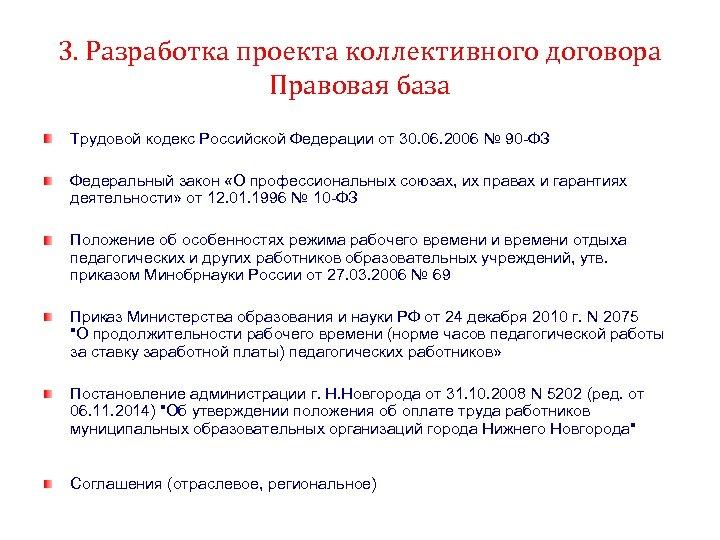 3. Разработка проекта коллективного договора Правовая база Трудовой кодекс Российской Федерации от 30. 06.