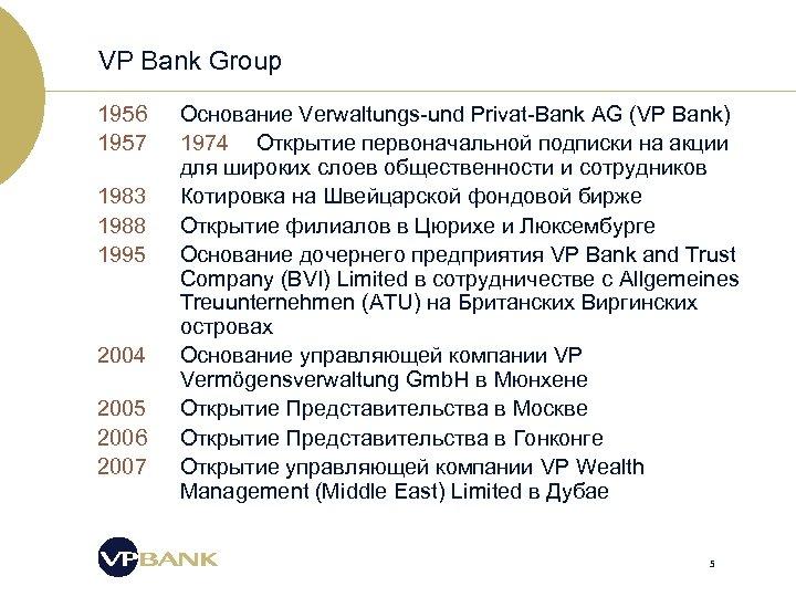 VP Bank Group 1956 1957 1983 1988 1995 2004 2005 2006 2007 Основание Verwaltungs-und