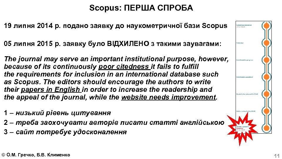 Scopus: ПЕРША СПРОБА 19 липня 2014 р. подано заявку до наукометричної бази Scopus 05