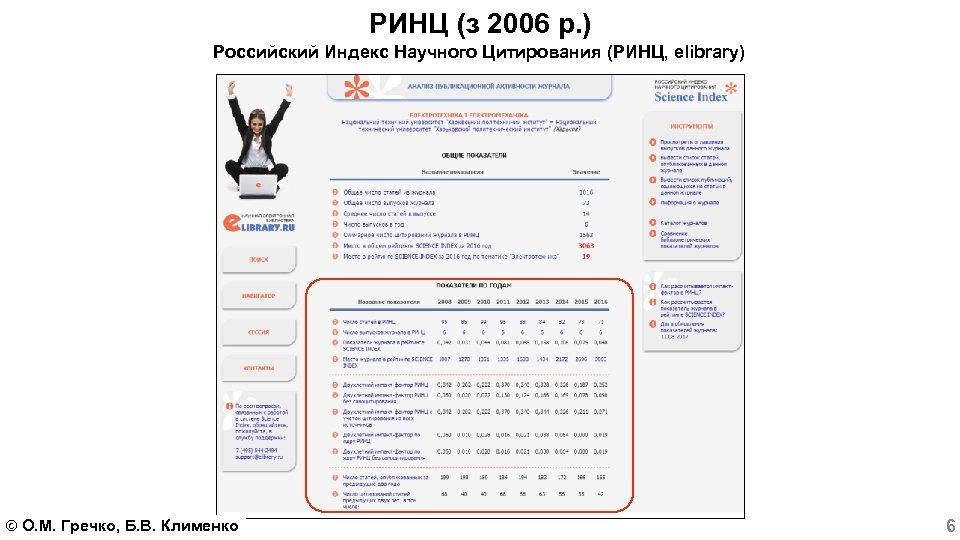 РИНЦ (з 2006 р. ) Российский Индекс Научного Цитирования (РИНЦ, elibrary) О. М. Гречко,