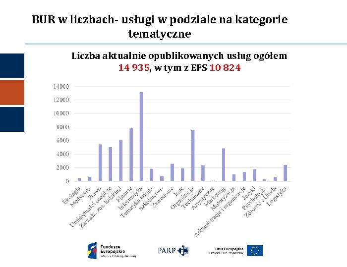 BUR w liczbach- usługi w podziale na kategorie tematyczne Liczba aktualnie opublikowanych usług ogółem