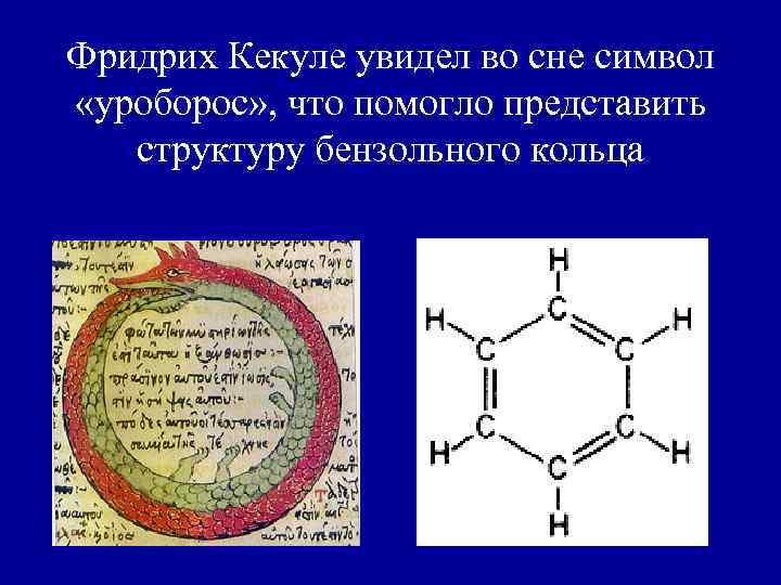 Фридрих Кекуле увидел во сне символ «уроборос» , что помогло представить структуру бензольного кольца